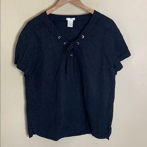Matty m black lace up shirt sleeve top